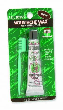 Clubman Pinaud - Moustache Wax - Brown - Bartwachs - Braun 14g- mit kleinem Kamm  - Bild vergrößern