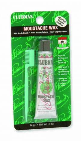 Clubman Pinaud - Moustache Wax - Bartwachs - Neutral 14g- mit kleinem Kamm  - Bild vergrößern